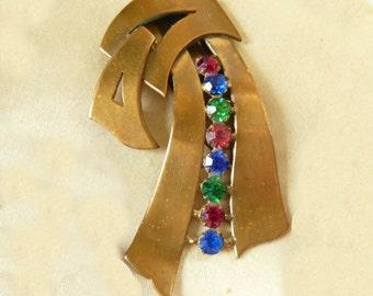 Super Art DECO Vintage 1930's, BRASS Dress Clip, with Multi Colored Rhinestones Brooch Pin