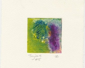 Monotype collagraph Tiny 2015 series #5 yellow-green cobalt violet blue affordable original art