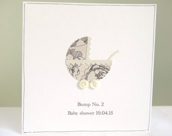 Personalised baby shower card - baby shower congratulations card - new baby greeting card - button cards - neutral baby cards - baby bump