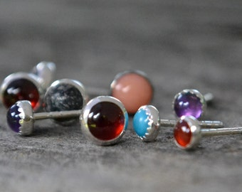 SINGLE post earring - mystery stone and sterling silver
