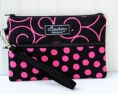 Pink Dot & Swirl Padded Wristlet Mini Purse