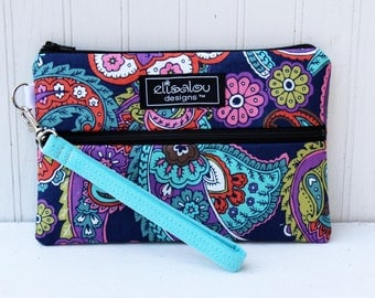 Paisley Multi Padded Wristlet Mini Purse