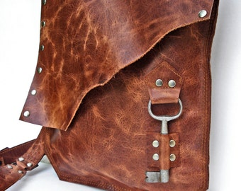 Rust Leather Messenger Bag with Antique Key - Large MADE to ORDER - Rocker Biker Steampunk Goth
