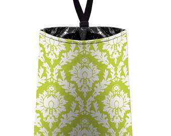 Car Trash Bag // Auto Trash Bag // Car Accessories // Car Litter Bag // Car Garbage Bag - Citrus Green Damask // Car Organizer