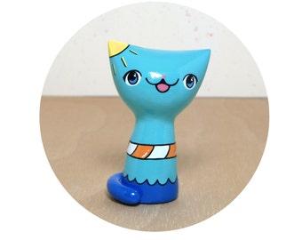 Summer Fun Kitty Figurine - Collectible Miniature Resin Figure