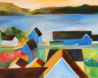 Colorful Village Rooftops art print of original oil painting / Mendocino Village in Northern California / vibrant color