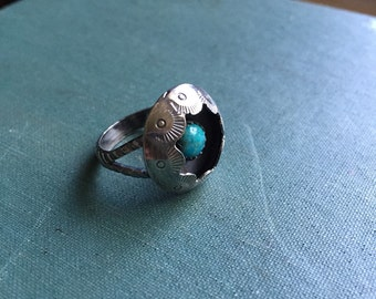 Turquoise Shadowbox Ring | Sterling Silver | Southwestern Ring | Turquoise Ring | Boho Ring | Arizona Turquoise | Shadow Box Ring