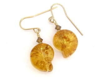 Fossil Shell Earrings, Ammonite Earrings, 14K Gold Fill Earrings, Vintage Fossil Shell Glass, Amber Fossil Shell Earrings, Amber Glass