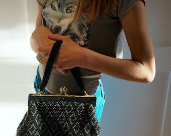 Vintage 50s Beaded Black Bag Purse Top Handle Lucite Gray Black Gold Women Accessories Bags and Purses Retro Handbag Bohemian Boho