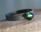Blackened Sterling Silver Tourmaline Cabochon Ring - Orb