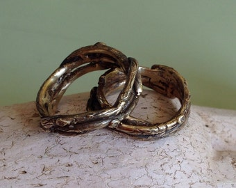 Rustic gold Twigs and branches wedding band set  - 14k gold wedding ring set