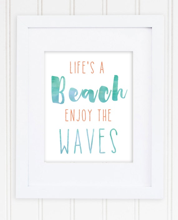 Life's a Beach, Enjoy the Waves Print / Ocean Print / Beach Quote / Beach Art / Beach House / Square or Rectangular / Turquoise and Coral