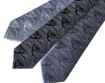 Crashing Waves silk tie. Nautical necktie. Japanese textile sashiko motif inspired silkscreen print. Choose from many blue shades.
