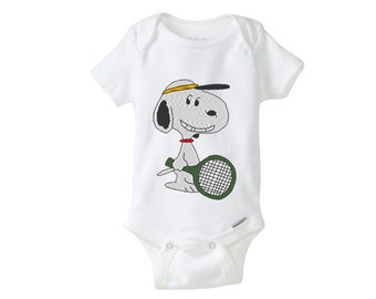 TENNIS Snoopy Embroidered Baby Girl Boy Onesie, embroidered onepiece, baby undershirt, unisex baby