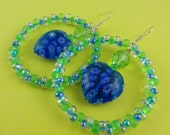 Large Green and Blue Heart and Hoop Earrings - Millefiori heart inside beaded circle - colourful unusual unique dangly bold big summer fun