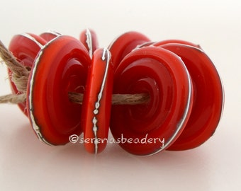 ORANGE RED with fine silver Wavy Disks Lampwork Glass Beads - TANERES sra fine silver droplets