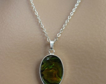 Paua Shell Necklace. Paua Shell Cabochon. Iridescent Necklace. Gold Shell Necklace. Silver Chain Necklace