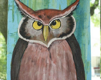 Big Owl painting abstract background greens blues big eyes folk art