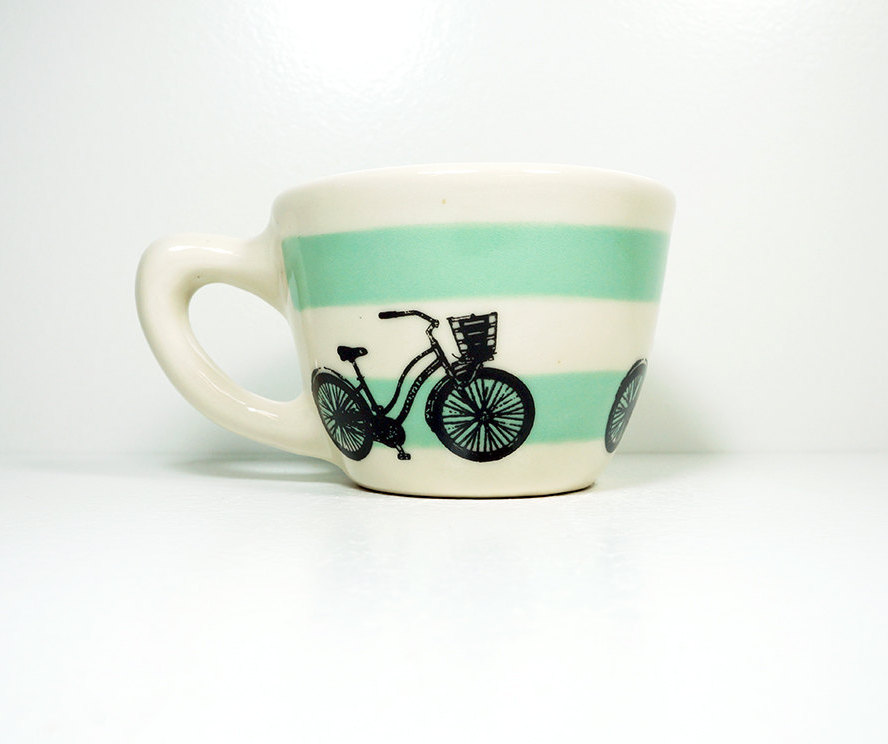 """12oz cup with what we like to call the """"speedy delivery"""" bike, on stripes of blue green, made to order / pick your colour"""