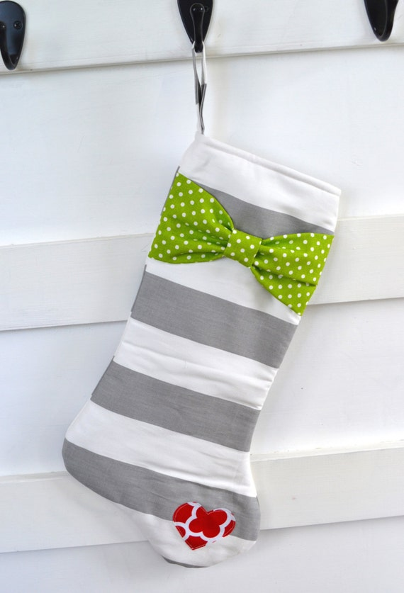 Modern Christmas Stocking - Gray White Stocking with Green Bow and Red ...