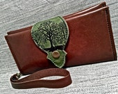 Leather Long Wallet, Phone Case with Wrist Strap & Zipper Pocket Brown, Hunter / Tree Print,* SALE * Coupon Codes