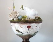 White Rabbit Centerpiece , Mixed Media Collage and Altered Art Sculpture , Whimsical Woodland Art