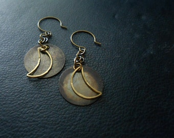 sale - evening - occult crescent moon earrings - soft grunge festival jewelry - vintage and handmade mixed metal jewelry
