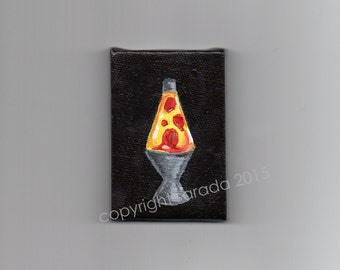 Mini yellow red lava lamp lite miniature 2 x 3 acrylic painting hippie groovy retro kitsch psychedelic art space age dorm room decor 60s 70s