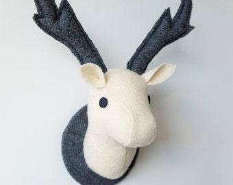 Cream and Grey Stag Head,  Fabric Deer Head, Monochromatic Animal Head  Wall Hanging