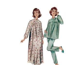 60s Pajama pattern Nightgown pattern Bed Jacket pattern vintage 34-26-36 Butterick 2117