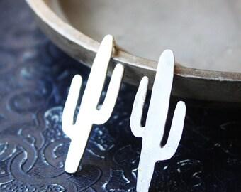 Cactus earrings, sterling silver cactus studs, southwestern jewelry, saguaro arizona gold brass