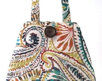 Paisley tote bag converts to hobo bag, womens bag, shoulder handbag, fabric bag, paisley purse, diaper bag ,laptop bag