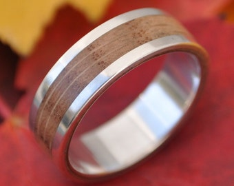 Lados Oak Wood Ring - recycled sterling silver and sustainable wood wedding band, wood wedding ring, mens wood ring