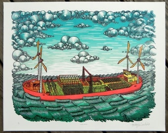 Farm Barge - Woodcut Print, Woodblock Print by Tugboat Printshop