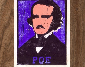 Edgar Allen Poe Linocut Handpulled Print