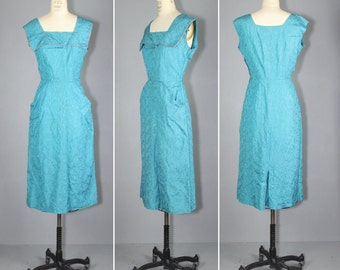 turquoise dress / rhinestone / 1960s / MEDITERRANEAN wiggle dress