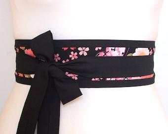 Obi kimono belt with Japanese Cherry Blossom fabric