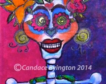 Calavera Skeleton Dia De Los Muertos 4x6 Digital Download Festive Colorful Illustration by Candace Byington