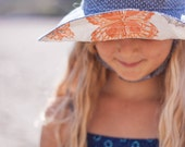 Girl Wide Brim Sun Hat in Denim Polka Dot with Vintage Butterfly Fabric in Brim || Limited Edition
