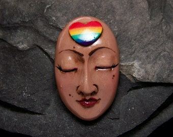 Rainbow Heart Goddess Face Cab handmade, Hand Painted Polymer Clay Cabochon Pride and Peace