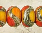 Apricot Orange Handmade Glass Lampwork Beads Set of 6 with Red Lipstick and Ivory Web Accents Small 11x7mm Warm Fire