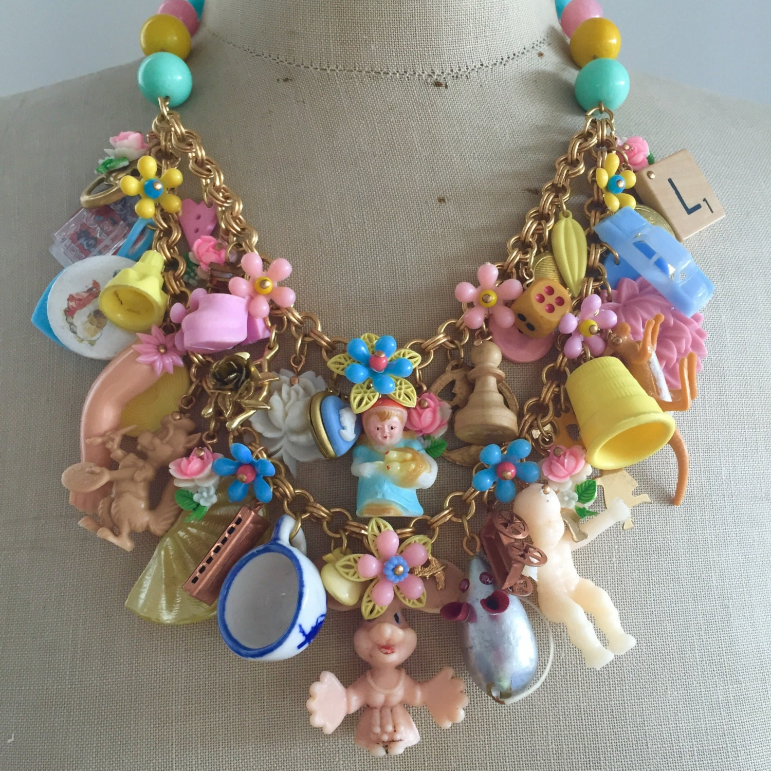 Vintage Toy Necklace Flower Statement Bib Child S