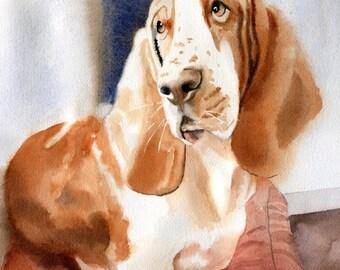 Print Basset Hound Portrait Art Watercolor Painting Art Pet Portrait Reproduction large big decor decoration gift unique