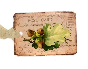 Oak Leaves and Acorns Gift Tags , Fall Tags , Vintage Tags , Rustic Tags , Shabby Tags , Autumn Tags