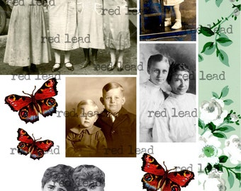 "Digital Vintage Photos Collage Sheet - 8-1/2"" x 11"" - Ancestors 83"