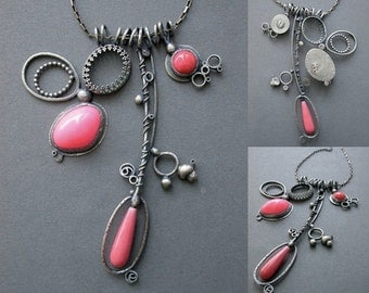 neon pink peach coral necklace sculpture sculptural wearable art modern collage oxidized silver multi