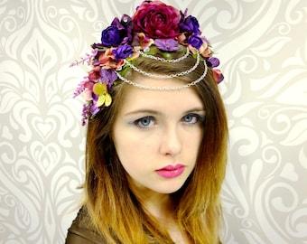 Flower Crown, Floral Headpiece, Purple and Fuschia, Costume Headdress, Bridal Headpiece,Tiara, Circlet, Flower Circlet, Flower Headchain,