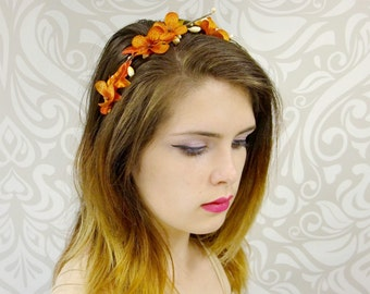 Autumn Headband, Fall Colors Headpiece, Fall Leaves, Berries, Boho Headband, Hydrangea Headband in Fall Colors, READY TO SHIP