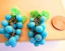 BOGO sale vintage grape clusters (1+) dangles bunch aqua blue green cha cha charms drops beads Czech Carmen Miranda almost 2 inches (1+)