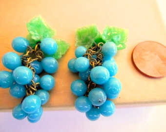 BOGO sale vintage grape clusters (1+) dangles bunch aqua blue green cha cha charms drops beads Czech Carmen Miranda almost 2 inches (1+)